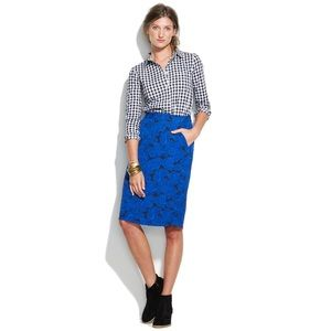 Madewell blueberry paisley pencil skirt